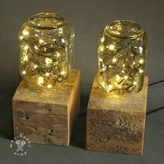 Night lights made of old wood and bottle.