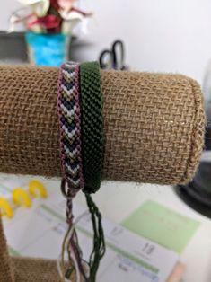 pink w/ white, beige and blue diamond pattern & green rows pattern macrame friendship bracelet by JolieTreasure on Etsy