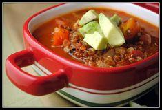 Mexican quinoa soup (vegan) - next time, will sub black beans for half of the quinoa.