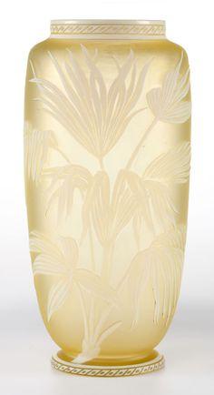 English Cameo Glass Vase, circa 1900