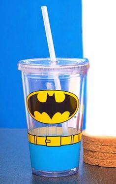 Batman Double Wall Travel Cup with Straw - Batman Cup - Officially Licensed #DCComics