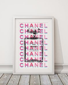 Chanel print A4 in Pink and Teal water color 8.5 X by hellomrmoon