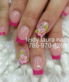 uñas decoradas #uñas #fucsia #nailart #pink #uñas bonitas Gold Gel Nails, Glitter Nail Art, Toe Nail Art, 3d Nails, Swag Nails, 3d Nail Designs, Nail Art Designs Videos, French Nail Designs, Acrylic Nail Designs