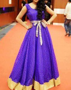 60 Ideas Dress Long Purple Navy Blue For 2019 Saree Gown, Lehnga Dress, Kurti Designs Party Wear, Kurta Designs, Blouse Designs, Long Gown Design, Long Gown Dress, Long Frock, Dress Skirt