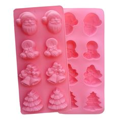 8 Grids Christmas Silicone Chocolate Mold Bell Santa Claus Jelly Mold Dough Dessert Shaper Home Bakery Baking Pastry Tools G49