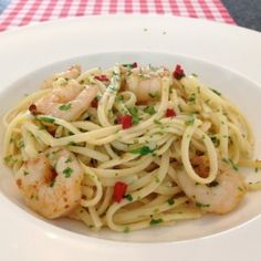 Pasta met garnalen Scampi, How To Cook Pasta, High Tea, Food For Thought, Noodles, Seafood, Spaghetti, Good Food, Food And Drink