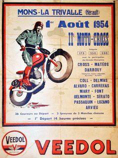 Affiche Moto-Cross Mons-la-Trivalle - Août 1954