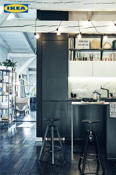 "Make a bold statement with a dark kitchen. The KUNGSBACKA kitchen was central to Katarzyna's loft renovation. ""I wanted the black of the… Kitchen Larder, Fixer Upper, New Homes, Loft, Magazine, Dark, Future, Instagram, Cuisine Ikea"