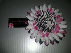 3in Black, Pink & White Zebra Print Gerber Daisy Head Band - You choose Size and band. $7.00, via Etsy.