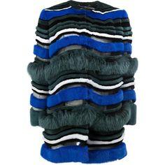 Fendi striped fur coat ($20,105) ❤ liked on Polyvore featuring outerwear, coats, blue fur coats, print coat, fendi coat, pattern coat and striped coats