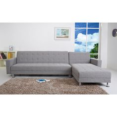 Frankfort Ash Convertible Sectional Sofa Bed - Overstock™ Shopping - Big Discounts on Sectional Sofas- $900
