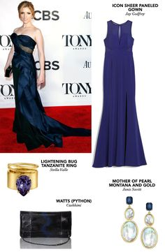 Sapphire blue gown and mother of pearl earrings. What could be more elegant than Anna Kendrick's look? #zindigo #getthelook #annakendrick