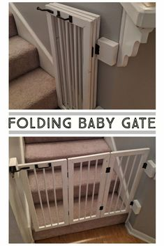 Folding Baby Gate Folding Baby Gate Homemade Baby Gate for the stairs folds flat against the wall in with 3 sections. Baby Gate For Stairs, Diy Baby Gate, Stair Gate, Wood Baby Gate, Painted Baby Furniture, Baby Furniture Sets, Furniture Vintage, Furniture Design, Furniture Plans