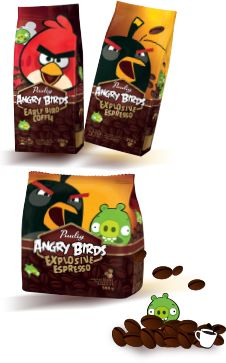 Let us introduce you; Paulig, Angry Birds coffees! Try this premium coffee blend with 100 % Arabica beans from Brazil, Columbia and Africa. THE EARLY BIRD CATCHES THE PIG!