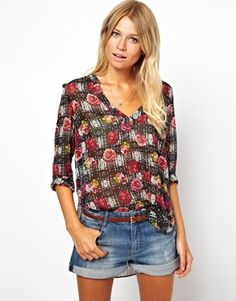Image 1 of ASOS Blouse With Drape Hem In Rose Check Print