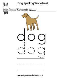 Preschool Dog Spelling Worksheet