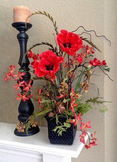 Red Poppy Floral Arrangement, Silk Floral Arrangement, Artificial Arrangement…