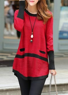 Red Long Sleeve Button Decorated Sweater on sale only US$33.05 now, buy cheap Red Long Sleeve Button Decorated Sweater at lulugal.com