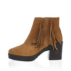 Brown suede fringed heeled ankle boots