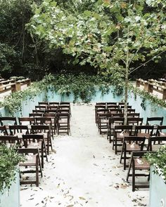Guests assembled inside and around the pool-turned-ceremony-site, which was decorated with Jackson vine and ferns. Bags of birdseed and programs were placed on each seat.