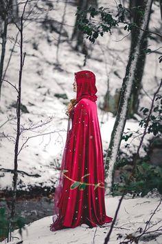 Red Riding Hood stretch Velvet Cape Costume Cape Fairytale
