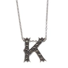 Marc Sterling Silver Marcasite Initial 'K' Necklace (Marc Sterling Silver Marcasite Initial 'M' Necklace), Women's