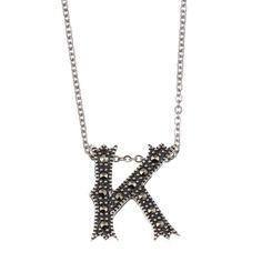 Marc Sterling Silver Marcasite Initial 'K' Necklace (Marc Sterling Silver Marcasite Initial 'G' Necklace), Women's