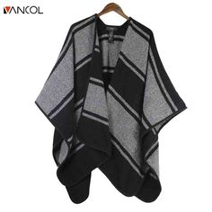 Vancol Fashion Warm Female Cashmere Shawl Winter Striped Cape Poncho Women With Belt 2016 Monochrome Stripe Belted Cover Up