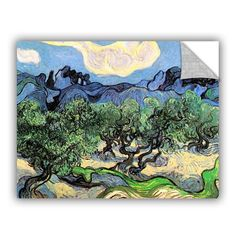 """Art Wall Olive Tress In A Mountanious Landscape by Vincent Van Gogh Art Appeelz Removable Wall Art Graphic Size: 14"""" H x 18"""" W x 0.1"""" D"""