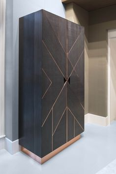 Geometric copper drinks bar and cabinet | Dark grey sycamore |