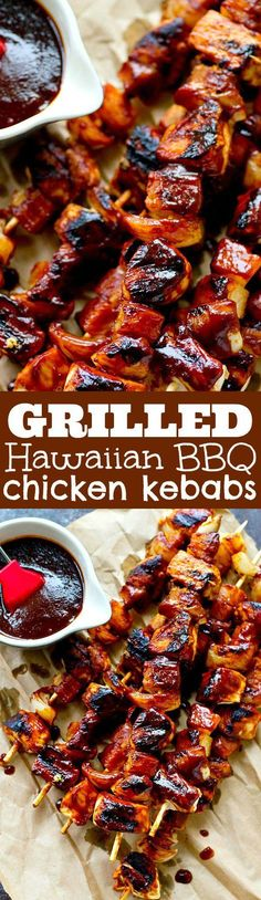 Homemade pineapple BBQ sauce makes these easy Hawaiian bbq chicken kebabs SO flavorful you'll want to put them on your grill all summer! (Easy Meal To Make On Vacation) Bbq Chicken, Healthy Chicken, Chicken Recipes, Chicken Skewers, Chicken Meals, Hawaiian Bbq, Hawaiian Dishes, Hawaiian Recipes, Hawaiian Chicken