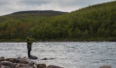 Fisherman trying to catch Arctic Ocean salmon from river Teno by Johannes Vallivaara on Destin Fishing, Fly Fishing, Arctic, Salmon, Destinations, Ocean, River, Explore, Mountains