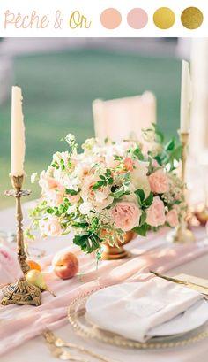 Décoration de mariage Pêche et Or #peachgold #wedding #tendances