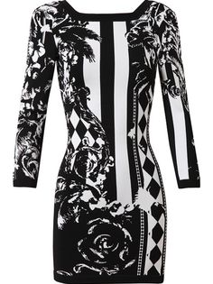 black and white runway | ... vs. Brandy in Balmain's Floral Stretch-Knitted Black and White Dress