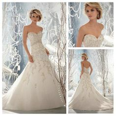 Wholesale Fantastically Organza Applique and Beaded A-line Adult Wedding Gowns and Bridal