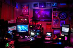 Tagged with art, photo, computers, cyberpunk, workstation; more Cyberpunk(ish) Workstations. Cyberpunk 2077, Cyberpunk Aesthetic, Neon Aesthetic, The Wombats, Gaming Room Setup, Neon Lighting, Digimon, Game Room, Album
