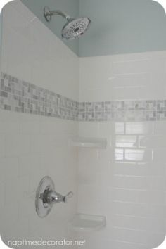 white subway tile with accent tile - Google Search