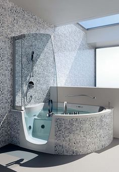 Walk in tubs, no slipping, just walk in. - holy wow!  This looks so cool!