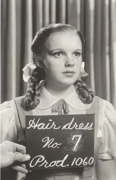 Judy Garland in a hair and makeup test for The Wizard of Oz