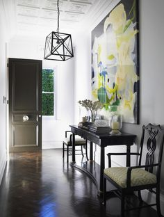 Denai Kulcsar Interiors - entrances/foyers - yellow and black