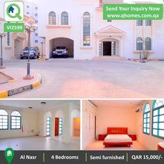 Villa for Rent in Qatar: Semi Furnished 4 Bedrooms Villa in a Compound in Al Nasr at QAR 15,000/-