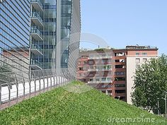 Green zone with modern and clasic architeture in Milan