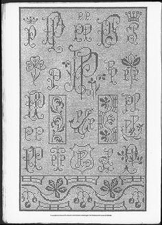 Cross stitch monograms, border and ornaments, some Art Nouveau.   (visit site for bigger picture)  Gracieuse. Geïllustreerde Aglaja, 1911, aflevering 12, pagina 16