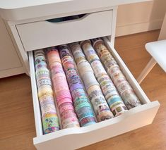 Is your washi tape collection getting out of hand? We've found some great storage ideas to keep everything organised or on display. Washi Tape Diy, Masking Tape, Washi Tapes, Duct Tape, Diy Washi Tape Storage, Washi Tape Planner, Stationary Organization, Room Organization, Ikea Alex Drawers
