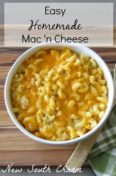 Easy Homemade Mac 'n Cheese Here in the South Macaroni and Cheese is considered a vegetable. Well not really but I've seen it listed with the vegetables in menus my whole life. It's just one of those quirky things we do down here that confuses the rest of Cheese Recipes, Pasta Recipes, Cooking Recipes, Healthy Recipes, Vegetarian Cooking, Cooking Cake, Healthy Foods, Cooking Tips, Easy Mac And Cheese