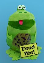 Milk Jug Tabletop Garbage Container Craft....milk jug, green paint (or tissue/glue), googly eyes, red & green foam.  Remember to cut 1 inch off handle and tape remainder together so frog's mouth stays open.