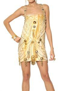 Versace - Embroidered Crepe De Chine Dress LUISAVIAROMA