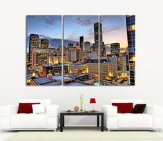 Large Wall Art Canvas Prints Houston Night Landscape Canvas Print - 3 Panel Streched Giclee