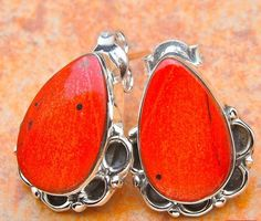 Earrings Sterling Silver 925 Handmade Vintage Red Jasper  .75in Teardrop 5.7g #Handmade #StudDangle