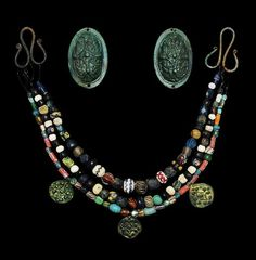 Ancient & Medieval History — Viking Tortoise Brooch, Pendant and Bead Set, 9th...
